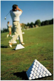 Les premiers swings au practice